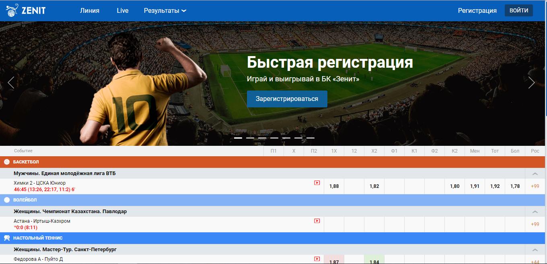 Букмекер Зенит - обзор сайта